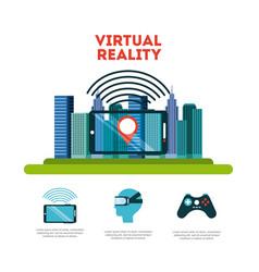 Virtual reality flat vector