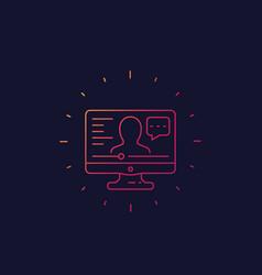 webinar online education line icon vector image