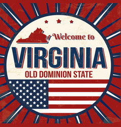 welcome to virginia vintage grunge poster vector image