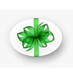 White Oval Gift Box with Green Bow and Ribbon vector