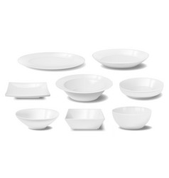 White plate dish and food bowl realistic mockups vector