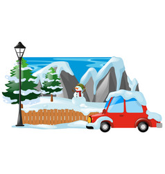 Winter scene with snowman and car vector
