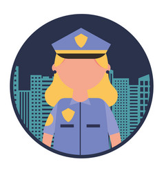 woman officer police with cityscape vector image