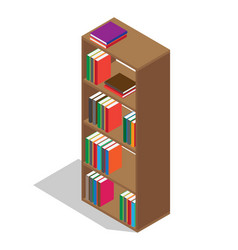Wooden bookcase full of textbooks vector