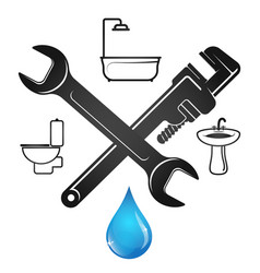 Wrench and a drop water plumbing repair vector