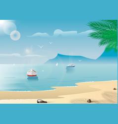 yachts near a tropical island summer active vector image