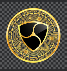 crypto currency nem golden symbol vector image