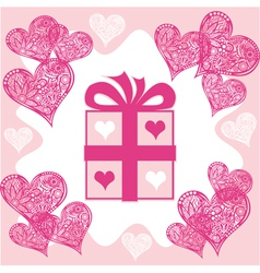Present Valentines day vector image vector image