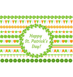st patrick s day border garland with clover vector image vector image