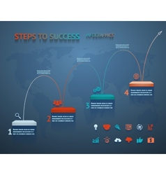Success Option Steps Template Arrow and Staircase vector image