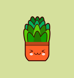 Cute cartoon flower icon with funny face in pot vector