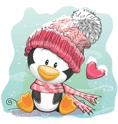 Cute Penguin in a knitted cap vector image vector image