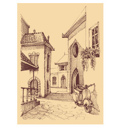 old city hand drawing small street and motor vector image