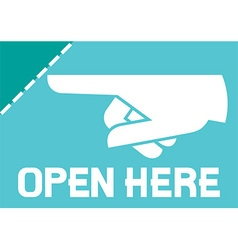 Open Here Sign Icon vector image vector image