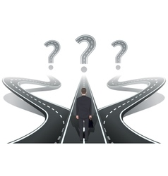 Businessman in front of question with roads vector image vector image