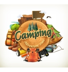 Camping adventure time vector image vector image