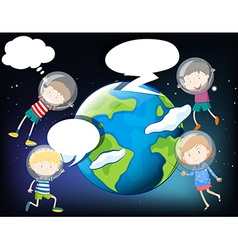 Children floating in the space around the earth vector image vector image