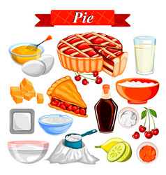 food and spice ingredient for pie vector image vector image