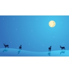 Landscape Christmas deer collection stock vector image vector image