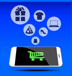 shopping on mobile phone vector image