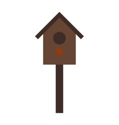 Wooden birdhouse hanging on tree nesting box flat vector image