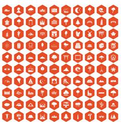 100 view icons hexagon orange vector image