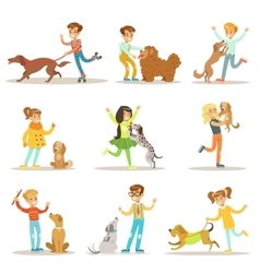 Children and dogs set with kids vector