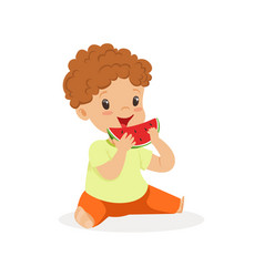 cute little redhead boy character enjoying eating vector image