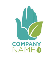 hand and leaf ecology company template icon vector image vector image
