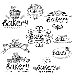 Set of hand written label for bakery theme vector image