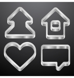 Silver icons of house bubble heart tree vector image