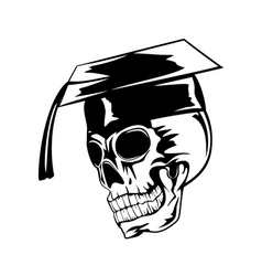 skull in graduation cap pr vector image