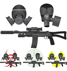 sniper rifle and gas masks vector image vector image
