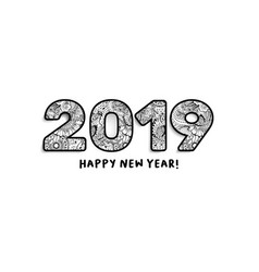 2019 lettering happy new year greeting or for vector