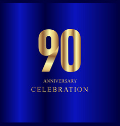 90 year anniversary celebration gold blue vector