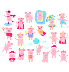 a set of funny piggy characters superhero in a vector image