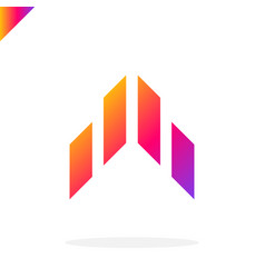 abstract arrow flying rocket icon logo isolated vector image