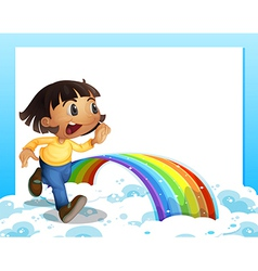 An empty template with a young girl running and a vector image