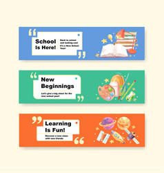back to school and education concept with banner vector image