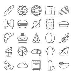 bakery baker icons set collection with outline vector image