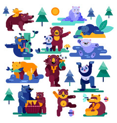 Bear cartoon animal character panda vector