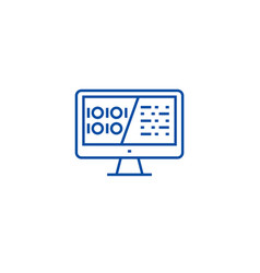binary code data encryption line icon concept vector image