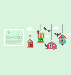 birdhouses with flying birds banner vector image
