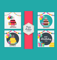 birthday party card set invitation with cute cake vector image