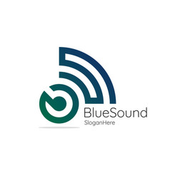 blue sound audio signal wireless with initial vector image