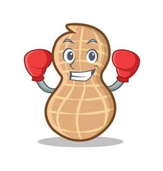Boxing peanut character cartoon style vector
