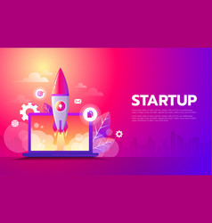 business startup launching product with rocket vector image