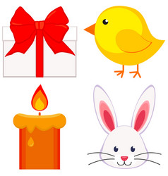 cartoon easter icon set chicken chick bunny face vector image