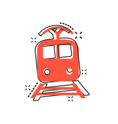 cartoon train transportation icon in comic style vector image