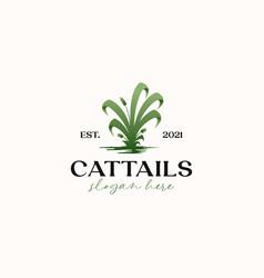 Cattails grass green gradient logo template vector